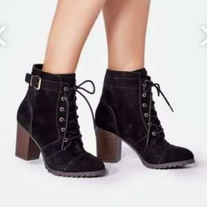 JustFab Black Janey Lace-Up Boot